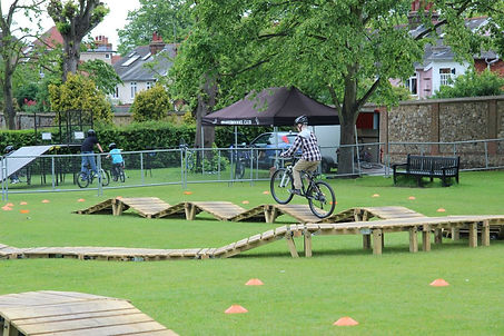 Bike obstacle course / North Shore-style track for hire at bike festival.