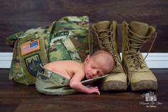 baby with army boots