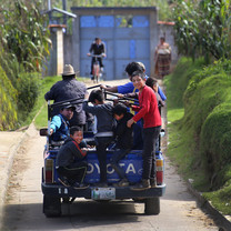 Truck transport in Nimasac, Guatemala, a western mountain rural village.