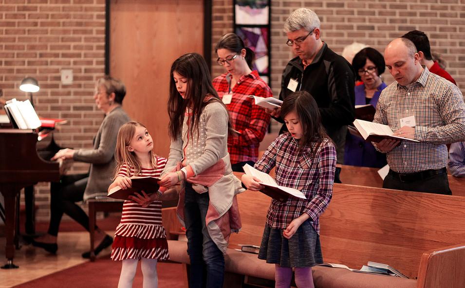 Sisters singing at Cary Presbyterian Church