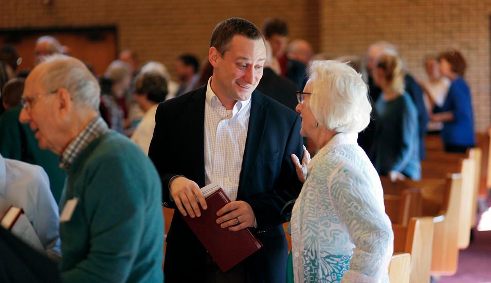 Passing peace at Cary Presbyterian Church