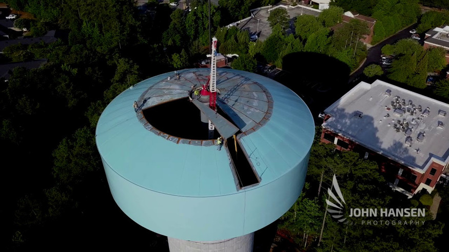 Drone video: water tower construction