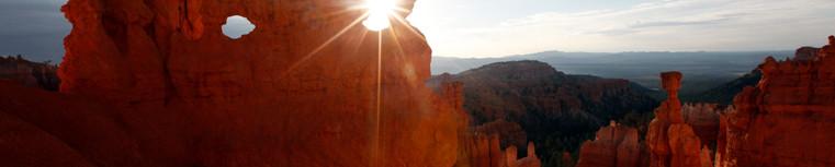 Sunrise through a hoodoo at Bryce Canyon National Park.