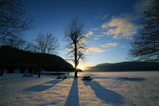Shuswap Lake from Sicamous Beach in Winter