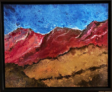 red earth acrylic pour