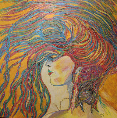 Wind in Her Hair      4'x4'