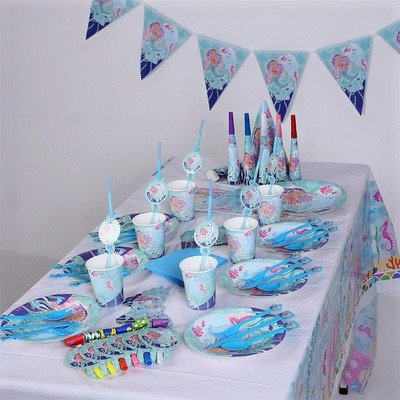Little Mermaid Party Table Decorations for 6 Kids