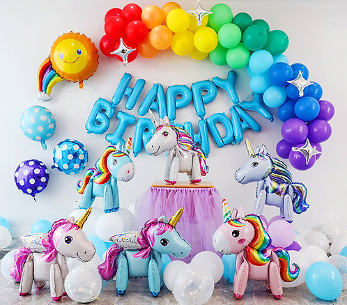 Rainbow Unicorn Theme Balloon Party Box Set A