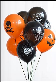 Halloween Balloons 10 Pcs Orange and Black