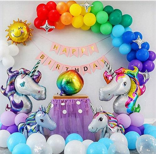 Rainbow Unicorn Theme Balloon Party Box Set B