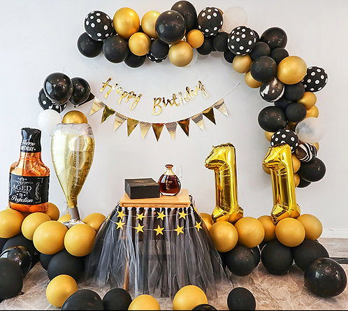 Graduation and Birthday Balloon Party Box Gold & Black Set B