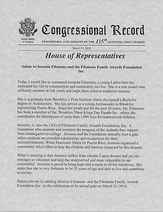 Congressional Record from Congresswoman