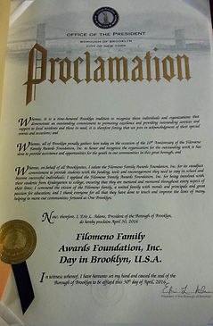 Filomeno Proclamation from Borough Presi