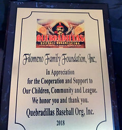 Filomeno Award from Quebradilla Baseball