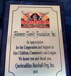Filomeno Award from Quebradilla Baseball