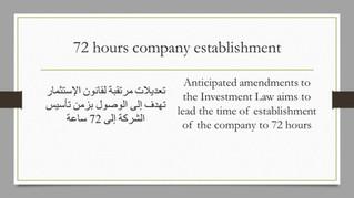 Investment Law Amendments For The Establishment Of A Company