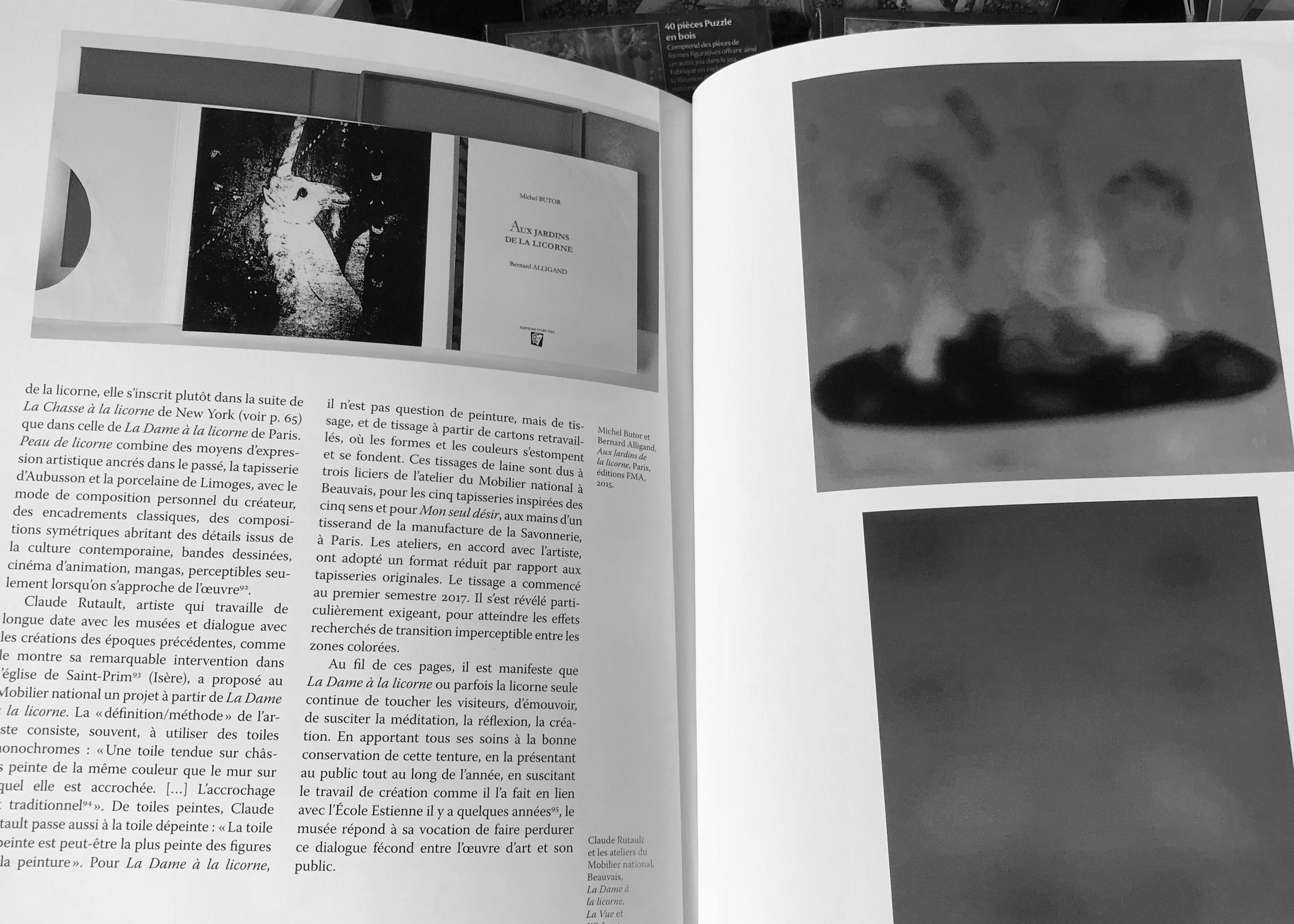 Catalogue de la Dame à la licorne avec extrait sur l'exposition Magiques licornes