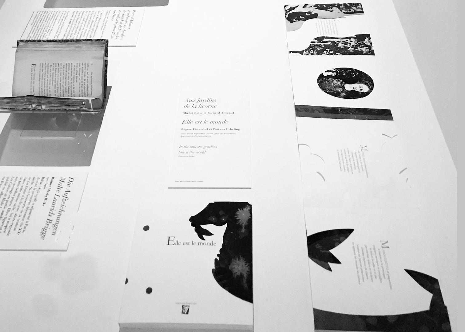 Exposition des 2 livres d'artistes lors de l'exposition Magiques licornes