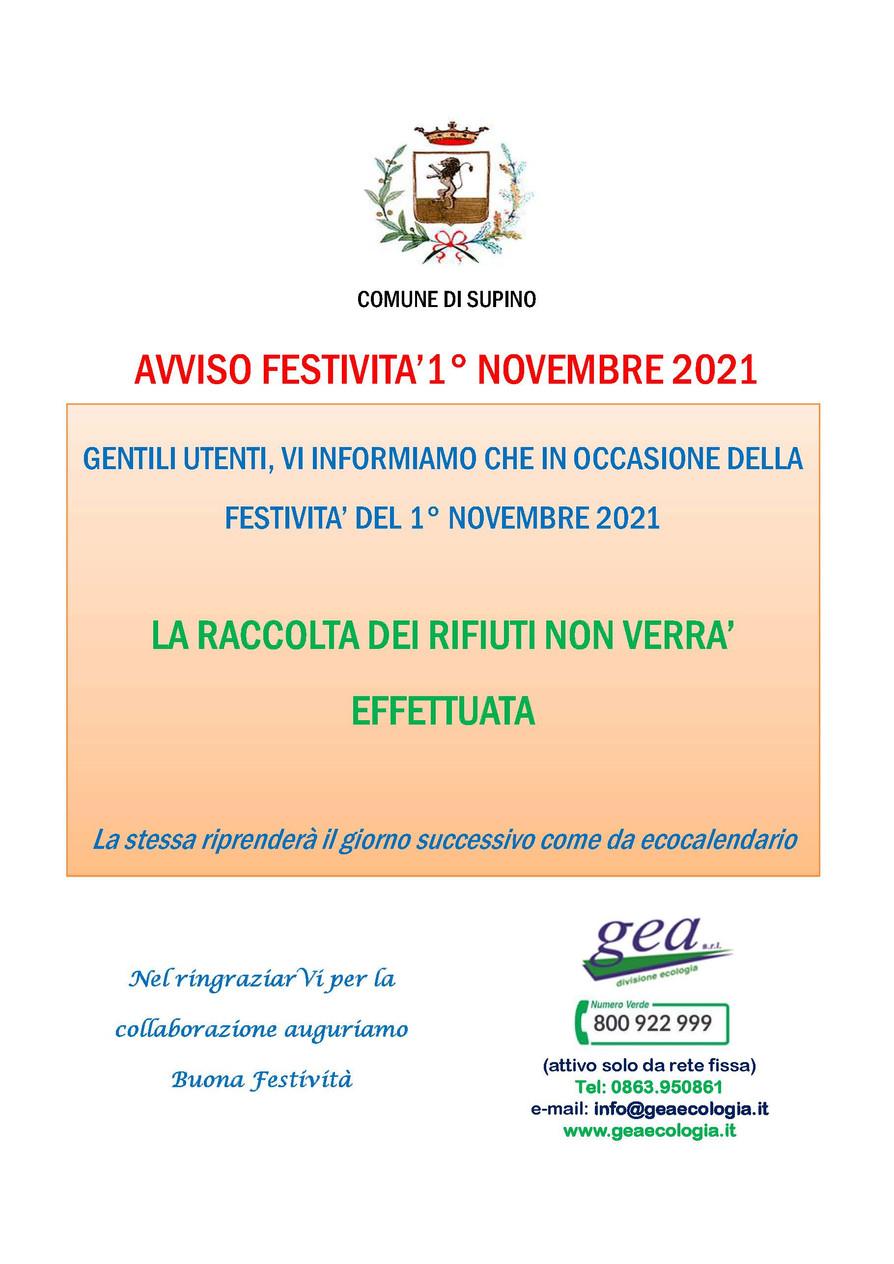 RACCOLTA RIFIUTI: AVVISO FESTIVITA'1° NOVEMBRE 2021