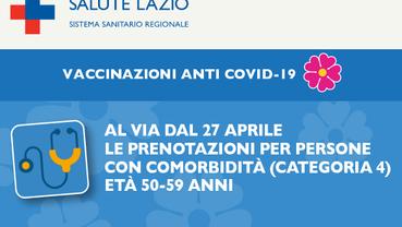 PRENOTAZIONI DELLE VACCINAZIONI ANTI COVID-19 PER PERSONE CON COMORBIDITÁ (CATEGORIA 4) ED ETÁ 50-59