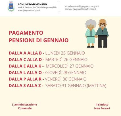 CALENDARIO PENSIONI DI GENNAIO
