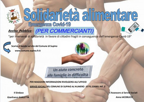 BUONI SPESA: COSTITUZIONE ELENCO DI ESERCIZI COMMERCIALI, FARMACIE E PARAFARMACIE TERRITORIALI