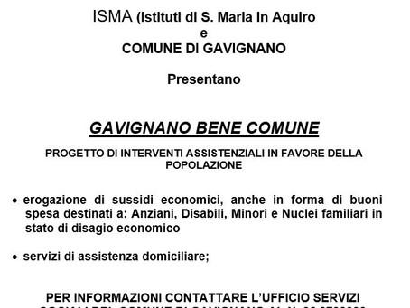 GAVIGNANO BENE COMUNE: PROGETTO DI INTERVENTI ASSISTENZIALI IN FAVORE DELLA  POPOLAZIONE.