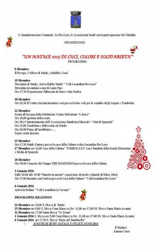 UN NATALE 2015 DI LUCI, COLORI E SOLIDARIETA' - PROGRAMMA NATALE 2015