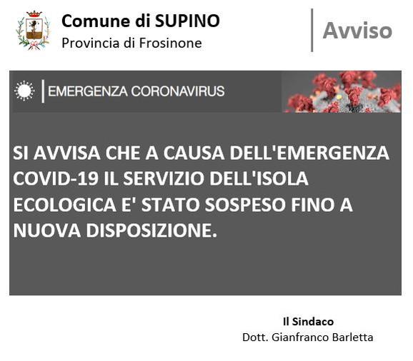 # EMERGENZA COVID-19 CHIUSURA ISOLA ECOLOGICA
