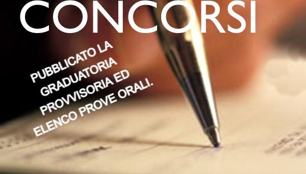 PUBBLICATO LA GRADUATORIA PROVVISORIA ED ELENCO PROVE ORALI.
