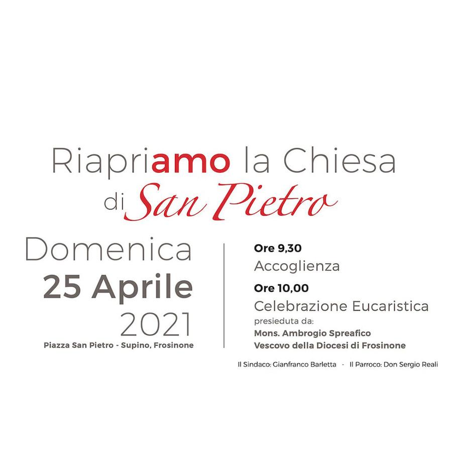 RIAPRIAMO LA CHIESA DI SAN PIETRODomenica 25 Aprile alle ore 10 #SUPINO.