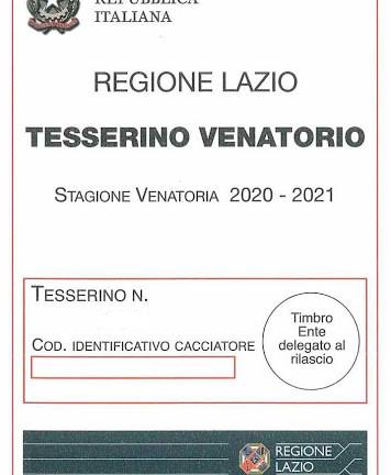 RILASCIO TESSERINI VENATORI STAGIONE 2020/2021.