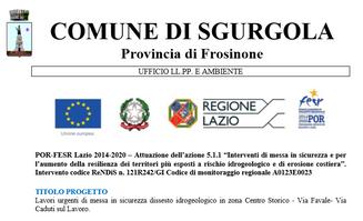 """POR-FESR Lazio 2014-2020 – Attuazione dell'azione 5.1.1 """"Interventi di messa in sicurezza e per l'au"""