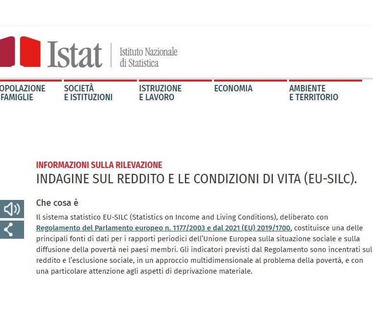 AVVISO: ISTAT - INDAGINE SUL REDDITO E SULLE CONDIZIONI DI VITA (Eu-Silc).