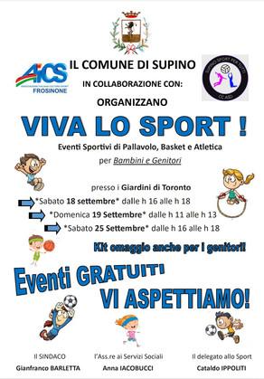 VIVA LO SPORT!  EVENTI SPORTIVI DI PALLAVOLO, BASKET E ATLETICA per Bambini e Genitori.
