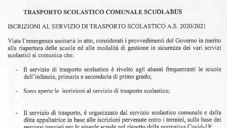 ISCRIZIONI AL TRASPORTO SCOLASTICO COMUNALE SCUOLABUS A.S. 2020-2021