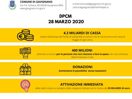 DPCM 28 Marzo 2020: Misure di sostegno ai comuni e alla cittadinanza.