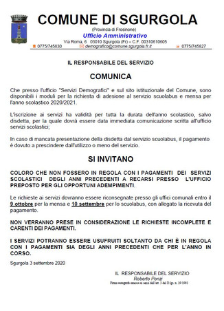ISCRIZIONE SERVIZIO MENSA E SCUOLABUS A.S. 2020-2021