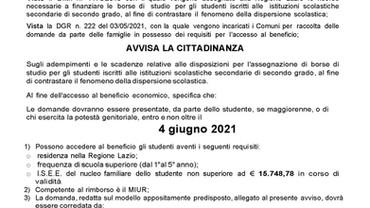 AVVISO PUBBLICO PER L'INDIVIDUAZIONE DI BENEFICIARI DI  BORSE DI STUDIO PER L'A.S. 2020/2021