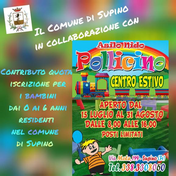 """Il Comune di Supino in collaborazione con """"Asilo nido Pollicino"""" Centro Estivo"""
