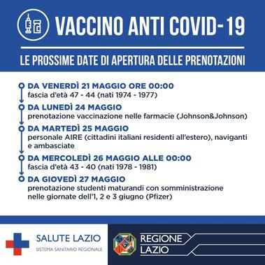 Vaccino Anti Covid19: Le prossime date di apertura delle prenotazioni.