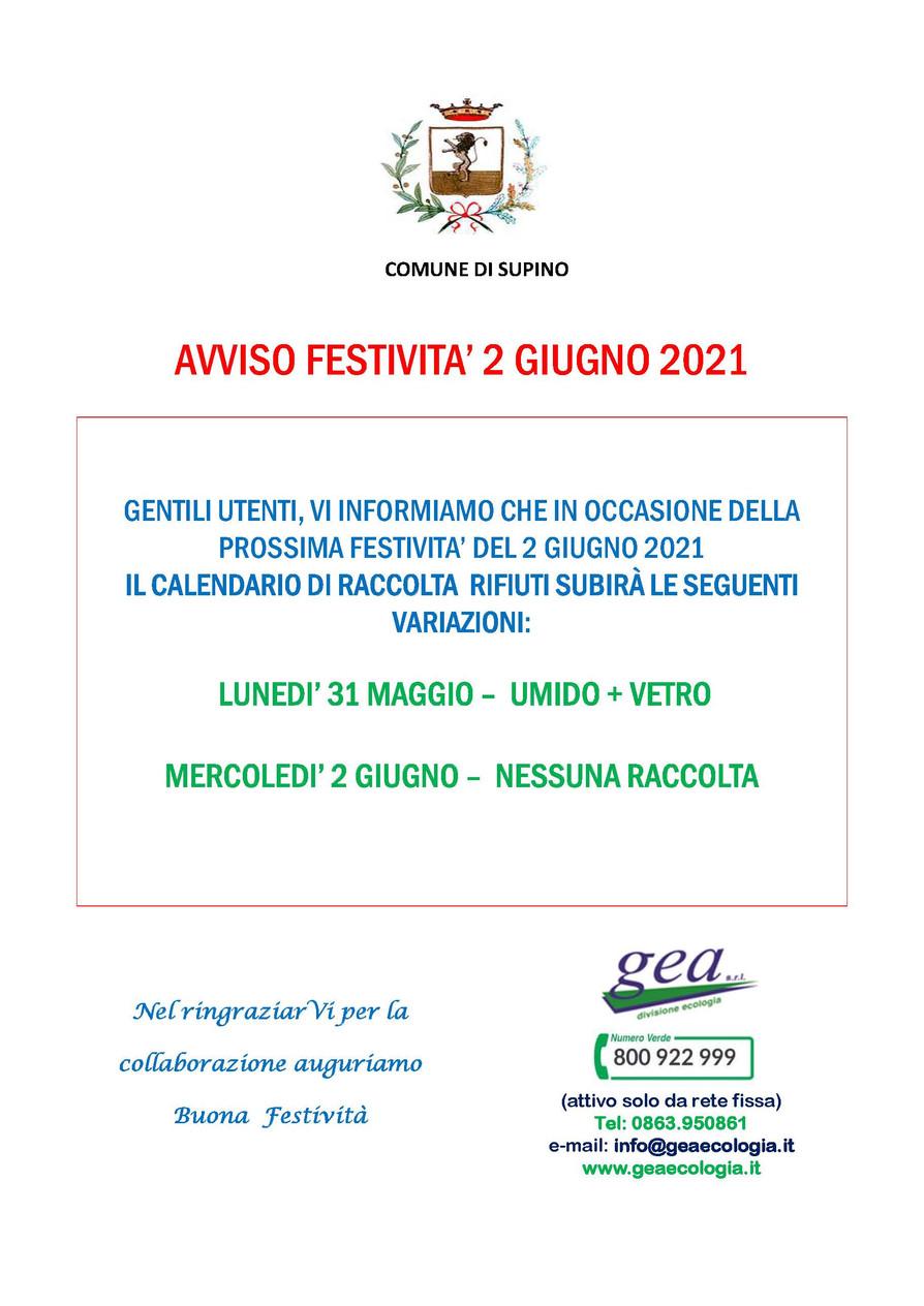 RACCOLTA RIFIUTI: AVVISO FESTIVITA' 2 GIUGNO 2021