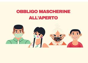 Firmata l'ordinanza che impone l'uso delle mascherine anche all'aperto.