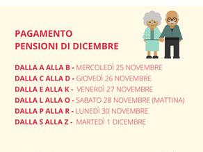CALENDARIO PENSIONI DI DICEMBRE