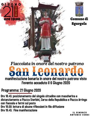 Fiaccolata in onore del Nostro Padrono San Leonardo per il 21 Giugno 2020.
