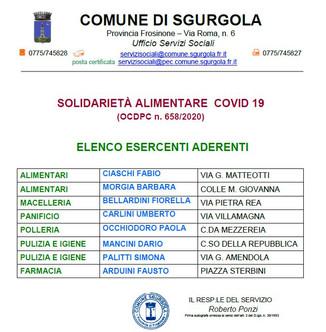 SOLIDARIETÀ ALIMENTARE  COVID 19 (OCDPC n. 658/2020)