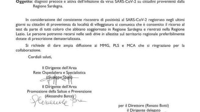Regione Lazio: Avviso per i cittadini che abbiano soggiornato nella Regione Sardegna.