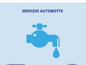 INTERRUZIONE SERVIZIO IDRICO - Disponibile su via Roma un'autobotte per i cittadini.