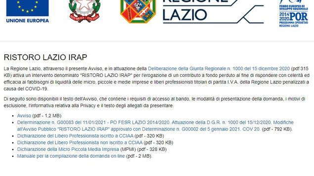 RISTORO LAZIO IRAP