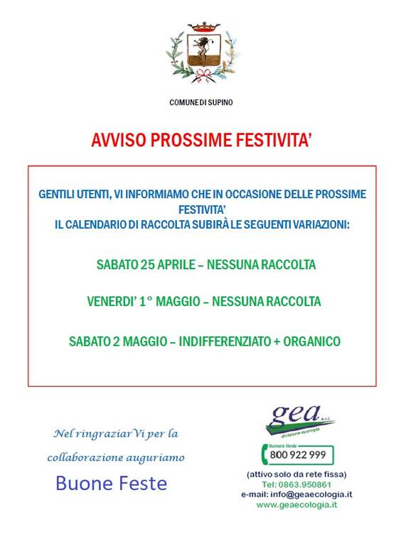 COMUNICATO GEA: Calendario Raccolta Differenziata per le Festività del 25 Aprile, 1e 2 Maggio.